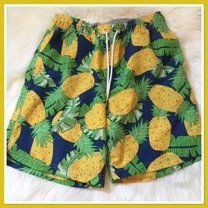 Lands' End Pineapple Print Swim Trunks Men's Small